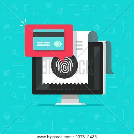 Online Payment On Computer Via Fingerprint Vector Illustration, Flat Cartoon Pay Bill Tax Via Credit
