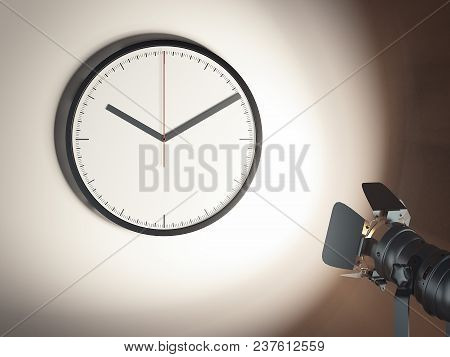 Clock On The Light Brown Wall With Searchlight, 3d Rendering