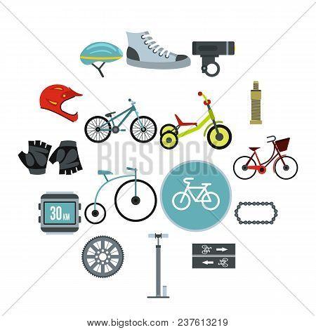 Flat Biking Icons Set. Universal Biking Icons To Use For Web And Mobile Ui, Set Of Basic Biking Elem