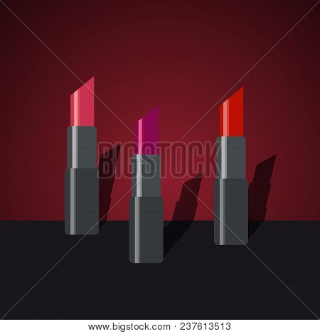Set Of Fashion Cosmetic Lipsticks. Flat Multicolored Lipsticks. Makeup.