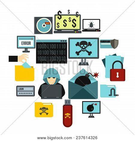 Flat Criminal Activity Icons Set. Universal Criminal Activity Icons To Use For Web And Mobile Ui, Se