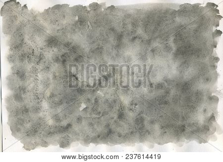 Gray-black Watercolor Background. Fully Painted Sheet Of Paper
