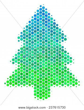 Halftone Dot Fir-tree Pictogram. Icon In Green And Blue Color Tints On A White Background. Vector Co