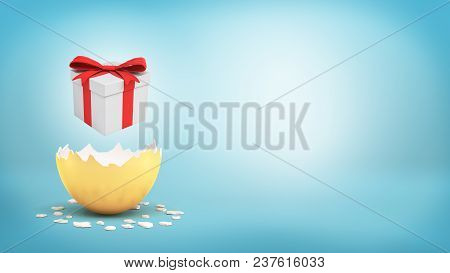 3d Rendering Of A White Gift Box With A Red Bow Hovers Over A Cracked Golden Egg On Blue Background.