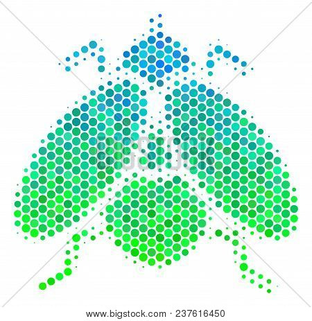 Halftone Circle Fly Insect Pictogram. Pictogram In Green And Blue Color Tinges On A White Background