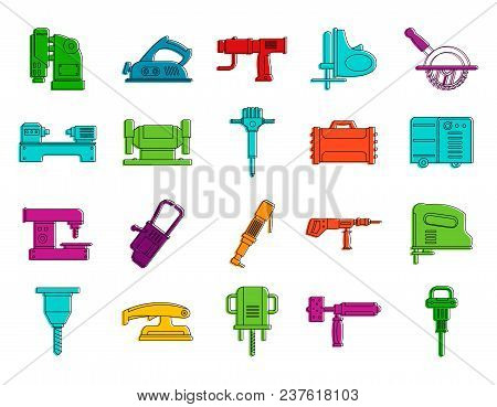 Electric Tool Device Icon Set. Color Outline Set Of Electric Tool Device Vector Icons For Web Design