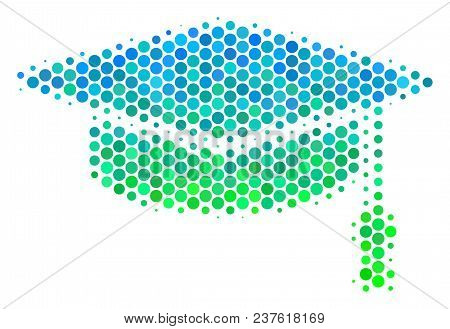 Halftone Round Spot Graduation Cap Icon. Pictogram In Green And Blue Color Hues On A White Backgroun