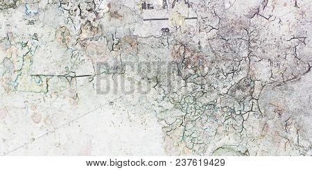 Old, Torn Bulletin Board, Street Empty Billboard. Rough Plastered Wall. Rustic, Vintage Style, Peeli