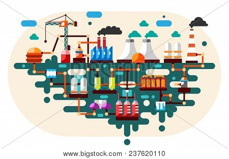 Industrial Factory Technology Process With Ecology Concept. Flat Style Illustration.