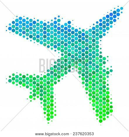 Halftone Dot Jet Plane Icon. Pictogram In Green And Blue Color Tones On A White Background. Vector C