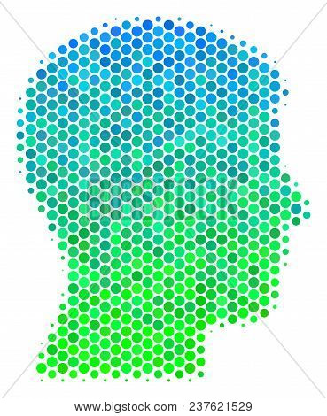 Halftone Circle Man Head Profile Icon. Icon In Green And Blue Color Hues On A White Background. Vect