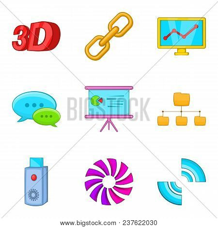 Dialog Window Icons Set. Cartoon Set Of 9 Dialog Window Vector Icons For Web Isolated On White Backg