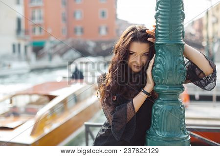 Travel Tourist Girl On Vacation Walking Happy By Grand Canal. Attractive Young Romantic Passion Woma