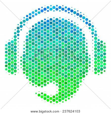 Halftone Round Spot Operator Head Icon. Icon In Green And Blue Color Tints On A White Background. Ve