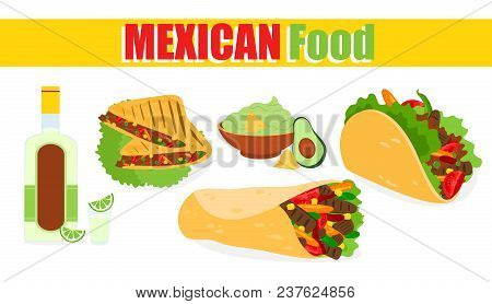 Vector Illustration Of Traditional Mexican Food, Label On White Background. Mexican Ethnic Cuisine,