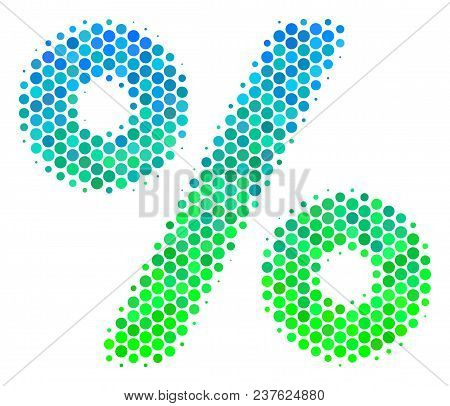 Halftone Dot Percent Icon. Icon In Green And Blue Color Hues On A White Background. Vector Mosaic Of