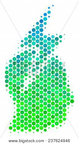 Halftone Circle Person Stress Strike Icon. Icon In Green And Blue Color Hues On A White Background.