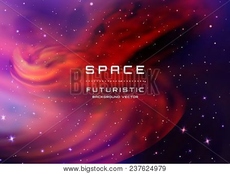 Abstract Vector Background With Night Sky And Stars. Illustration Of Outer Space And Milky Way.