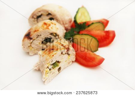 Chicken Breast Rolled Portion Stuffed Baked Homemade Diet Food Dinner
