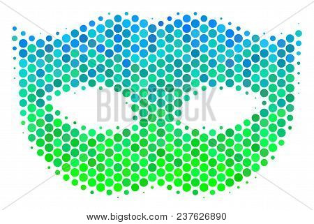 Halftone Dot Privacy Mask Pictogram. Icon In Green And Blue Color Hues On A White Background. Vector