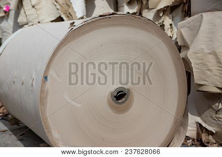 Paper Spools.  Waste Paper In The Yard,  Recycling.