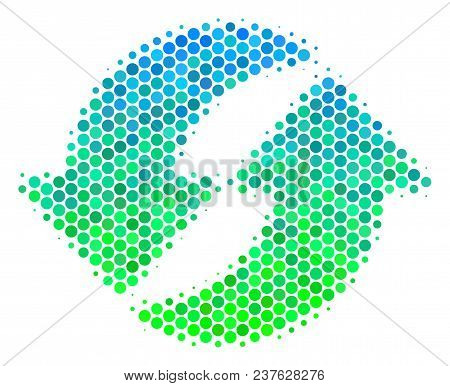 Halftone Round Spot Refresh Pictogram. Pictogram In Green And Blue Color Tones On A White Background