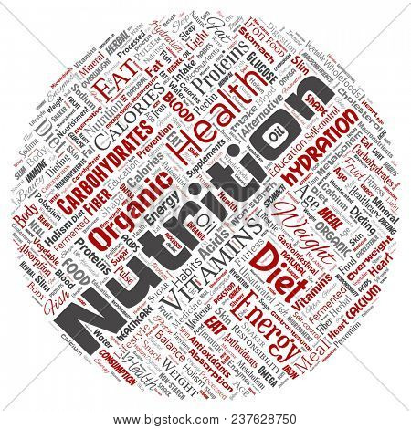 Conceptual nutrition health diet round circle red word cloud isolated background. Collage of carbohydrates, vitamins, fat, weight, energy, antioxidants beauty mineral, protein medicine concept