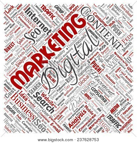 Concept or conceptual digital marketing seo traffic square red word cloud isolated background. Collage of business, market content, search, web push placement or communication technology