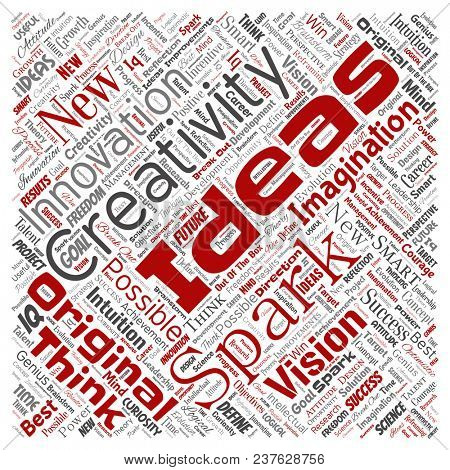 Conceptual creative idea brainstorming human square red word cloud isolated background. Collage of spark creativity original, innovation vision, think, achievement or smart genius concept