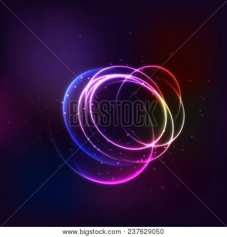Glow Effect. Ribbon Glint. Abstract Rotational Border Lines. Power Energy. Led Glare Tape. Luminous