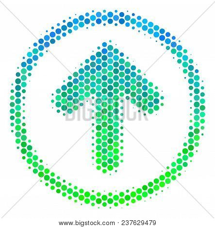 Halftone Dot Rounded Arrow Pictogram. Pictogram In Green And Blue Color Tints On A White Background.