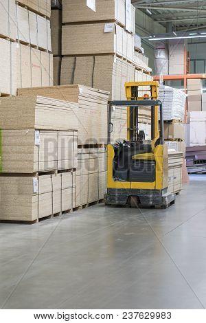 Forklift Loader Pallet Building Materials Warehouse, Logistics Concept, Construction Of Houses, Load