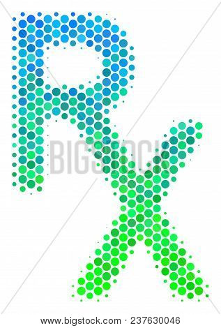Halftone Dot Rx Medical Symbol Icon. Pictogram In Green And Blue Shades On A White Background. Vecto
