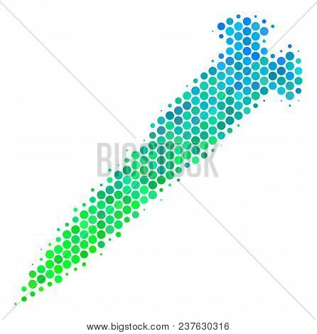 Halftone Circle Screw Pictogram. Icon In Green And Blue Color Hues On A White Background. Vector Com