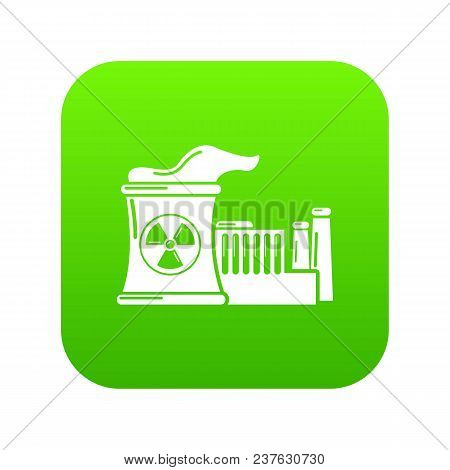 Atomic Reactor Icon Green Vector Isolated On White Background