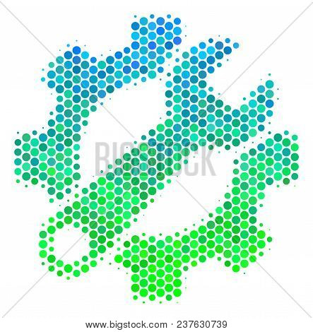 Halftone Dot Service Tools Icon. Pictogram In Green And Blue Color Tints On A White Background. Vect