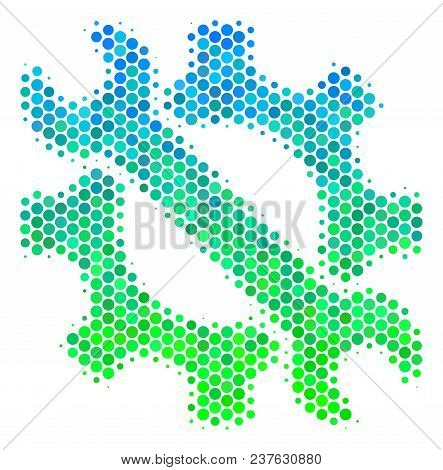 Halftone Round Spot Service Tools Icon. Pictogram In Green And Blue Color Tints On A White Backgroun
