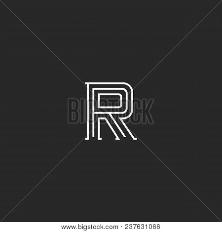Letter R Logo Monogram, Minimal Style Identity Initial Mark, Black And White Parallel Think Lines Em