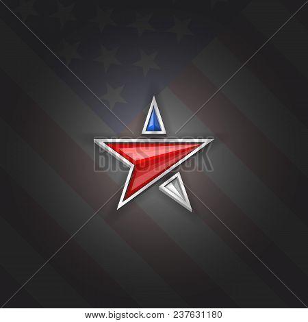 Star Logo Patriotic Symbol Usa Independence Day 4th Of July Poster Blank Mockup, American Flag Backg