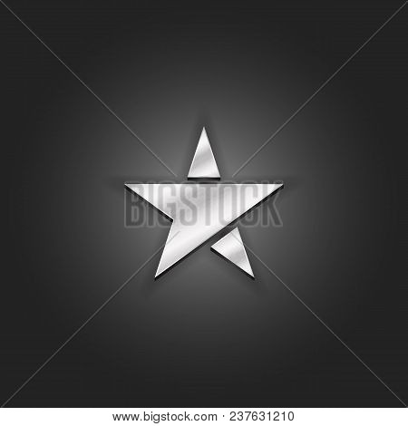 Silver Star Logo Mockup Metallic Shabby Texture. Luxury Material Metal 3d Award Pentagram Icon.