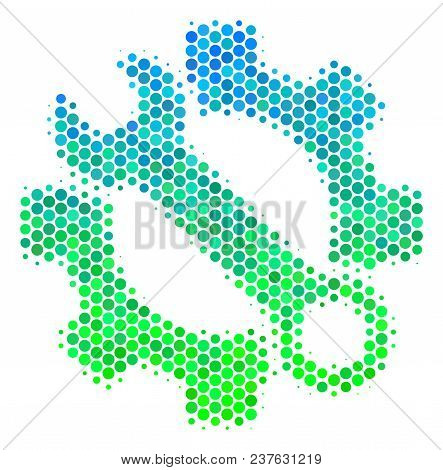 Halftone Circle Service Tools Icon. Icon In Green And Blue Shades On A White Background. Vector Mosa