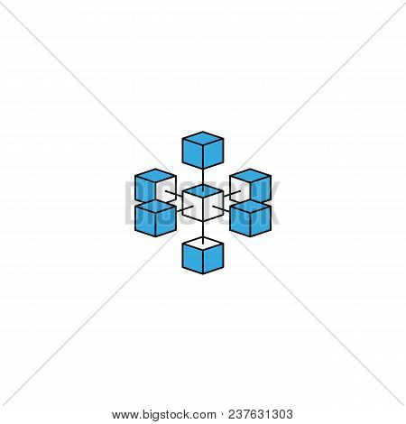 Logo Blockchain Technology Connected Isometric Geometric Cubes Blocks Shape Line Icon. Cryptocurrenc