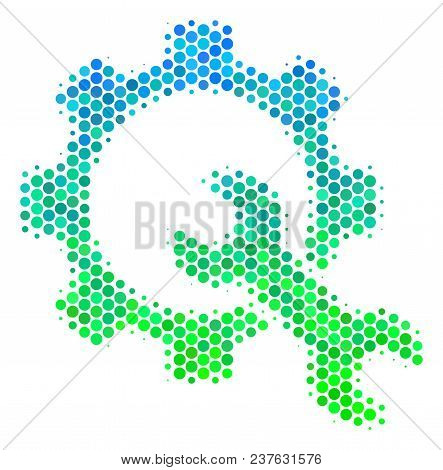 Halftone Round Spot Service Tools Pictogram. Icon In Green And Blue Color Hues On A White Background