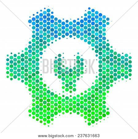 Halftone Round Spot Service Tools Pictogram. Pictogram In Green And Blue Color Tinges On A White Bac