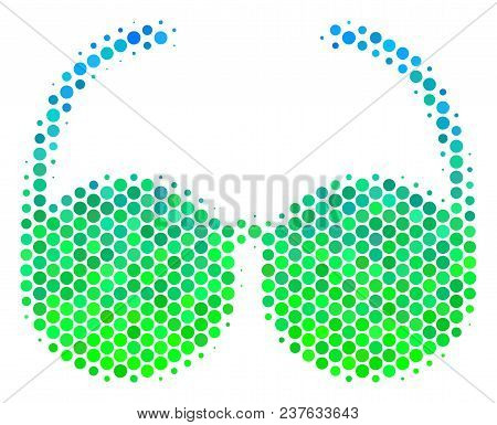 Halftone Dot Spectacles Icon. Pictogram In Green And Blue Shades On A White Background. Vector Compo