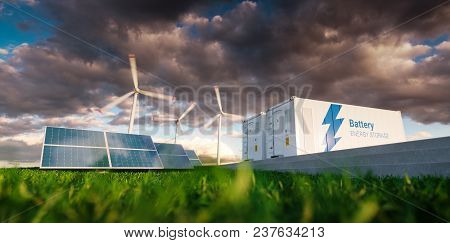 Concept Of Energy Storage System. Renewable Energy - Photovoltaics, Wind Turbines And Li-ion Battery