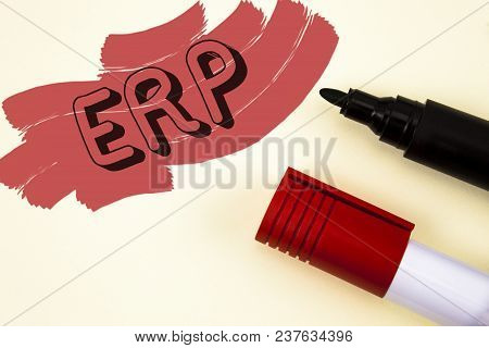 Handwriting Text Writing Erp. Concept Meaning Enterprise Resource Planning With Automate Back Office