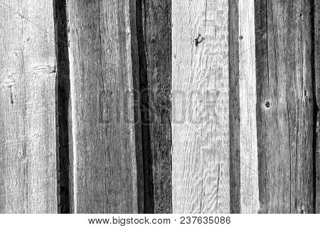 Old Wooden Fence Pattern In Black And White. Abstract Background And Texture For Design.