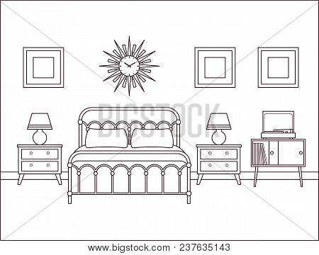 Bedroom Interior. Hotel Retro Room With Bed. Vector. Outline House Illustration. Home Space In Line