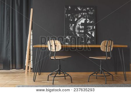 Black Painting On Dining Table